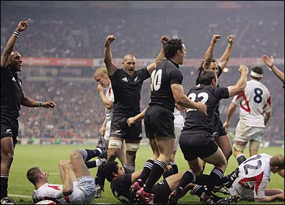 All Black try celebration